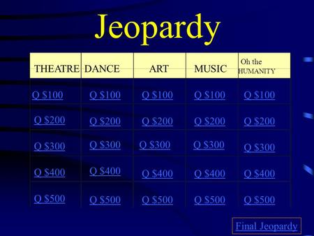 Jeopardy THEATREDANCE ARTMUSIC Oh the HUMANITY Q $100 Q $200 Q $300 Q $400 Q $500 Q $100 Q $200 Q $300 Q $400 Q $500 Final Jeopardy.