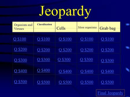 Jeopardy Organism and Viruses Classification Cells More organisms Grab bag Q $100 Q $200 Q $300 Q $400 Q $500 Q $100 Q $200 Q $300 Q $400 Q $500 Final.