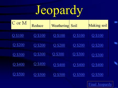 Jeopardy ReduceWeatheringSoil Making soil Q $100 Q $200 Q $300 Q $400 Q $500 Q $100 Q $200 Q $300 Q $400 Q $500 Final Jeopardy.