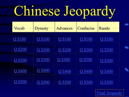 Chinese Jeopardy VocabDynastyAdvancesConfucius Rando Q $100 Q $200 Q $300 Q $400 Q $500 Q $100 Q $200 Q $300 Q $400 Q $500 Final Jeopardy.