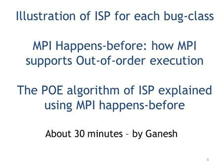 Illustration of ISP for each bug-class MPI Happens-before: how MPI supports Out-of-order execution The POE algorithm of ISP explained using MPI happens-before.