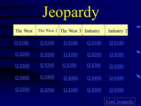 Jeopardy The West The West 2 The West 3Industry Industry 2 Q $100 Q $200 Q $300 Q $400 Q $500 Q $100 Q $200 Q $300 Q $400 Q $500 Final Jeopardy.