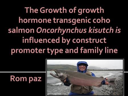 The Growth of growth hormone transgenic coho salmon Oncorhynchus kisutch is influenced by construct promoter type and family line.