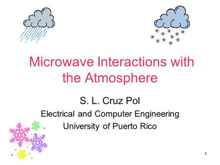1 Microwave Interactions with the Atmosphere S. L. Cruz Pol Electrical and Computer Engineering University of Puerto Rico.