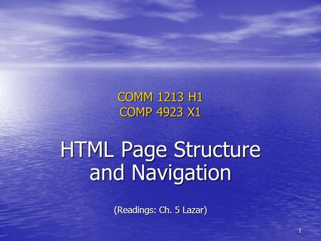 1 COMM 1213 H1 COMP 4923 X1 HTML Page Structure and Navigation (Readings: Ch. 5 Lazar)