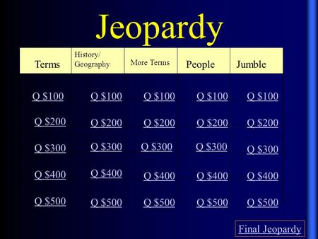 Jeopardy Terms History/ Geography More Terms People Jumble Q $100 Q $200 Q $300 Q $400 Q $500 Q $100 Q $200 Q $300 Q $400 Q $500 Final Jeopardy.