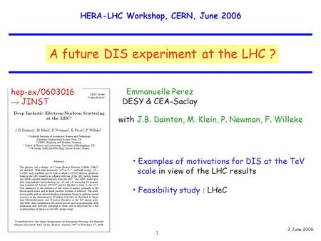 HERA-LHC Workshop, CERN, June 2006