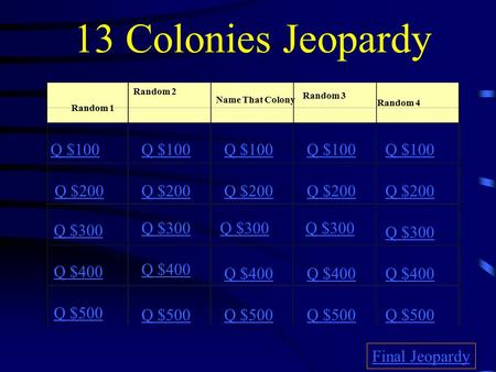 13 Colonies Jeopardy Random 1 Random 2 Name That Colony Random 3 Random 4 Q $100 Q $200 Q $300 Q $400 Q $500 Q $100 Q $200 Q $300 Q $400 Q $500 Final.