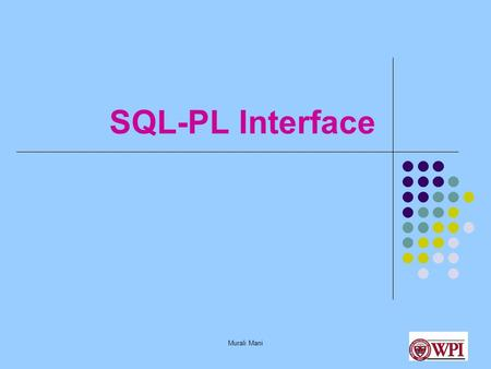 Murali Mani SQL-PL Interface. Murali Mani Some Possible Options Web Interface Perl /CGI with Oracle/mySQL Install your own web server and use servlets.