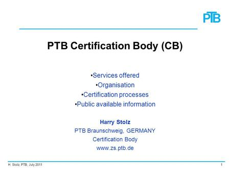 PTB Certification Body (CB)