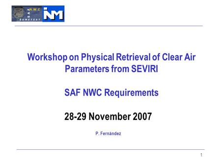 1 Workshop on Physical Retrieval of Clear Air Parameters from SEVIRI SAF NWC Requirements 28-29 November 2007 P. Fernández.