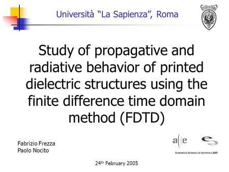 "Study of propagative and radiative behavior of printed dielectric structures using the finite difference time domain method (FDTD) Università ""La Sapienza"","
