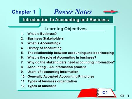 C1 - 1 Learning Objectives 1.What is Business? 2.Business Stakeholders 3.What is Accounting? 4.History of accounting 5.The relationship between accounting.