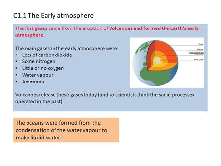 C1.1 The Early atmosphere The first gases came from the eruption <strong>of</strong> Volcanoes and formed the Earth's early atmosphere. The main gases in the early atmosphere.