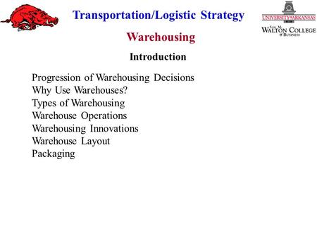 Warehousing Transportation/Logistic Strategy Progression of Warehousing Decisions Why Use Warehouses? Types of Warehousing Warehouse Operations Warehousing.