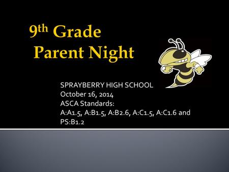 SPRAYBERRY HIGH SCHOOL October 16, 2014 ASCA Standards: A:A1.5, A:B1.5, A:B2.6, A:C1.5, A:C1.6 and PS:B1.2.
