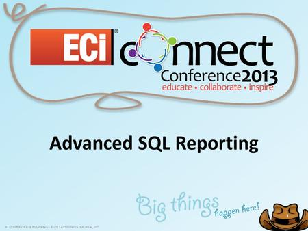ECi Confidential & Proprietary - ©2013 eCommerce Industries, Inc. 1 1 Advanced SQL Reporting.