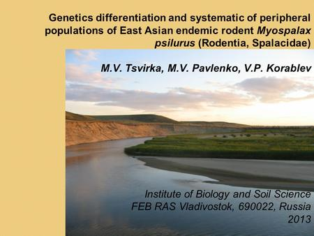 Genetics differentiation and systematic of peripheral populations of East Asian endemic rodent Myospalax psilurus (Rodentia, Spalacidae) M.V. Tsvirka,