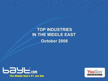 TOP INDUSTRIES IN THE MIDDLE EAST October 2008. Background of the research  The Top Industries in the Middle East research exercise was conducted to.