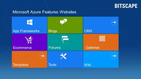 Ecommerce App Frameworks Forums Templates Blogs CMS Galleries Microsoft Azure Features Websites Tools Wiki.