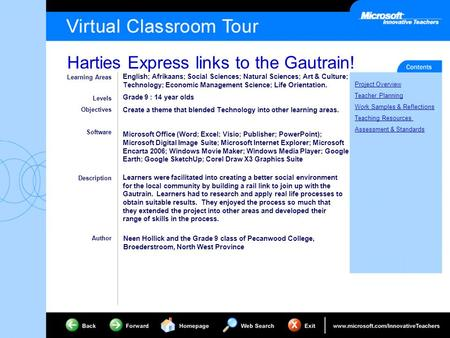 Harties Express links to the Gautrain! Project Overview Teacher Planning Work Samples & Reflections Teaching Resources Assessment & Standards Learning.