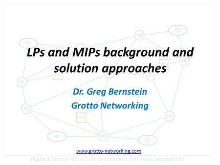 LPs and MIPs background and solution approaches Dr. Greg Bernstein Grotto Networking www.grotto-networking.com.