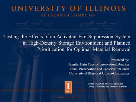 Testing the Effects of an Activated Fire Suppression System in High-Density Storage Environment and Planned Prioritization for Optimal Material Removal.