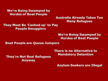 Asylum Seekers are Illegal Australia Already Takes Too Many Refugees We're Being Swamped by Hordes of Boat People They're Not Real Refugees Anyway They.