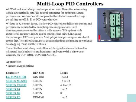 Multi-Loop PID Controllers All Watlow® multi-loop time/temperature controllers offer auto-tuning which automatically sets PID control parameter for optimum.