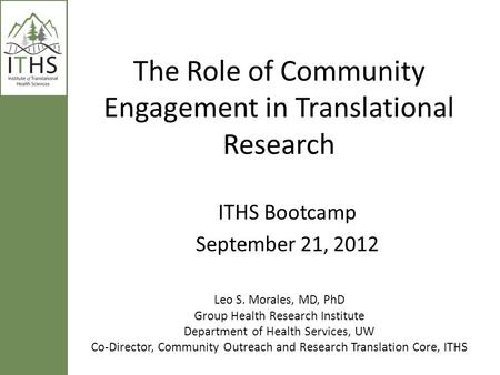 The Role of Community Engagement in Translational Research