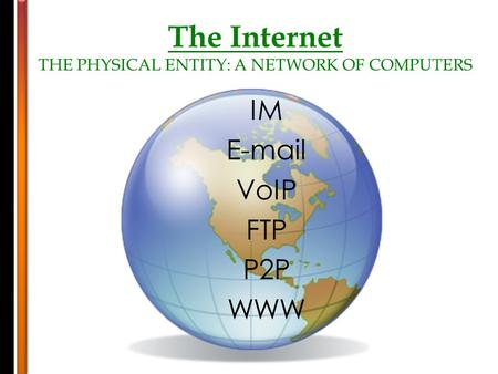 The Internet THE PHYSICAL ENTITY: A NETWORK OF COMPUTERS IM E-mail VoIP FTP P2P WWW.