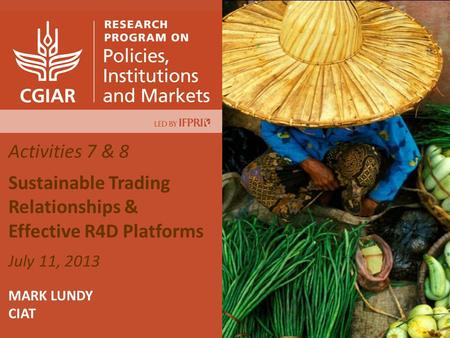 Activities 7 & 8 Sustainable Trading Relationships & Effective R4D Platforms July 11, 2013 MARK LUNDY CIAT.
