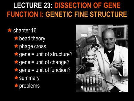 LECTURE 23: DISSECTION OF GENE FUNCTION I: GENETIC FINE STRUCTURE