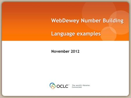 WebDewey Number Building Language examples November 2012.