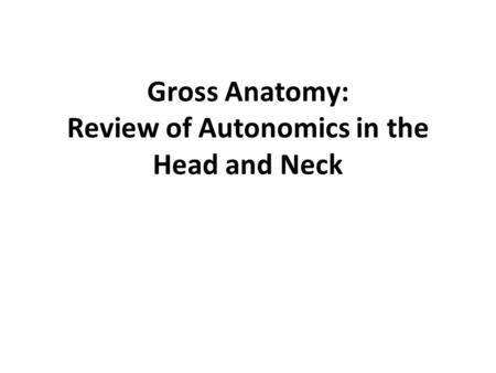 Gross Anatomy: Review of Autonomics in the Head and Neck