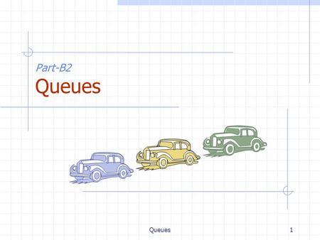 Queues1 Part-B2 Queues. Queues2 The Queue ADT (§4.3) The Queue ADT stores arbitrary objects Insertions and deletions follow the first-in first-out scheme.