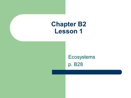 Chapter B2 Lesson 1 Ecosystems p. B28. ESSENTIAL QUESTIONS WHAT ARE THE PARTS OF AN ECOSYSTEM? HOW DOES THE ENVIRONMENT AFFECT LIVING ORGANISMS IN AN.