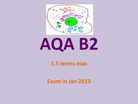 AQA B2 1.5 terms max Exam in Jan 2013. Guide timings Cells Diffusion Organs & Tissues Digestive SystemEASTER B1 revision and exam Photosynthesis ISA Photosynthesis.