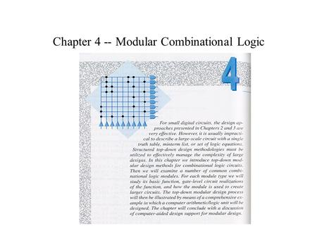Chapter 4 -- Modular Combinational Logic. Decoders.
