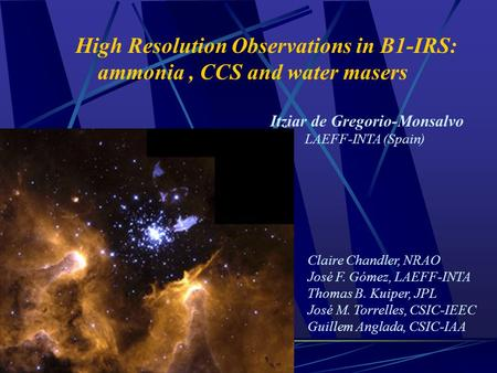 High Resolution Observations in B1-IRS: ammonia, CCS and water masers Claire Chandler, NRAO José F. Gómez, LAEFF-INTA Thomas B. Kuiper, JPL José M. Torrelles,