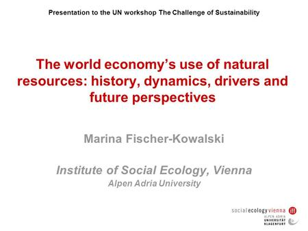 Presentation to the UN workshop The Challenge of Sustainability