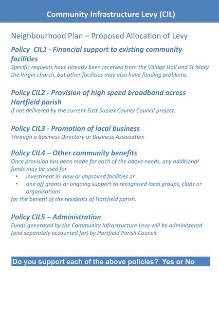 Community Infrastructure Levy (CIL) Neighbourhood Plan – Proposed Allocation of Levy Policy CIL1 - Financial support to existing community facilities Specific.