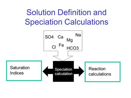 Solution Definition and Speciation Calculations Ca Na SO4 Mg Fe Cl HCO3 Reaction calculations Saturation Indices Speciation calculation.