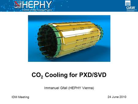 24 June 2010 Immanuel Gfall (HEPHY Vienna) CO 2 Cooling for PXD/SVD IDM Meeting.