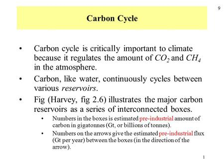 1 Carbon Cycle 9 Carbon cycle is critically important to climate because it regulates the amount of CO 2 and CH 4 in the atmosphere. Carbon, like water,