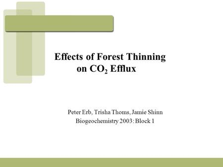 Effects of Forest Thinning on CO 2 Efflux Peter Erb, Trisha Thoms, Jamie Shinn Biogeochemistry 2003: Block 1.