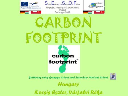 CARBON FOOTPRINT Batthyány Lajos Grammar School and Secondary Medical School Hungary Kocsis Eszter, Várfalvi Réka.
