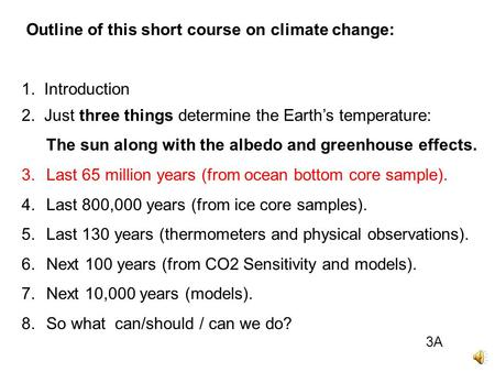 Outline of this short course on climate change: 1. Introduction 2. Just three things determine the Earth's temperature: The sun along with the albedo.