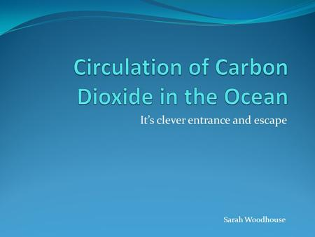 It's clever entrance and escape Sarah Woodhouse. The Carbon Cycle.