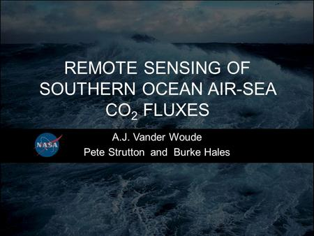 REMOTE SENSING OF SOUTHERN OCEAN AIR-SEA CO 2 FLUXES A.J. Vander Woude Pete Strutton and Burke Hales.